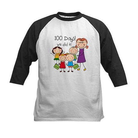 Kids and Female Teacher 100 Days Kids Baseball Jer