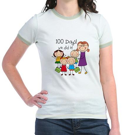 Kids and Female Teacher 100 Days Jr. Ringer T-Shir