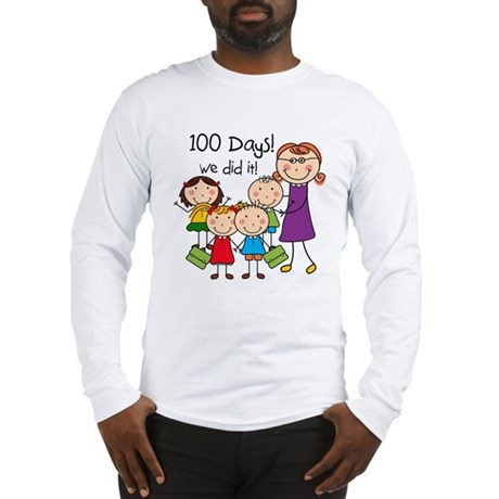 Kids and Female Teacher 100 Days Long Sleeve T-Shi