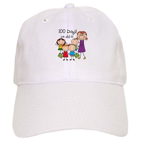 Kids and Female Teacher 100 Days Cap