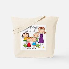 Kids and Female Teacher 100 Days Tote Bag