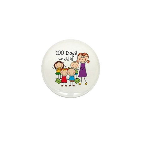 Kids and Female Teacher 100 Days Mini Button