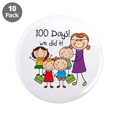 "Kids and Female Teacher 100 Days 3.5"" Button (10 p"