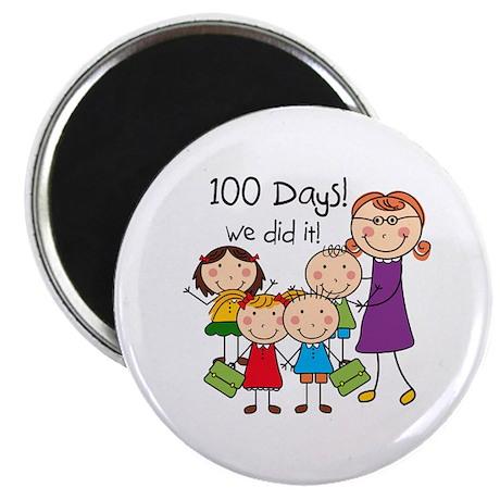 "Kids and Female Teacher 100 Days 2.25"" Magnet (10"