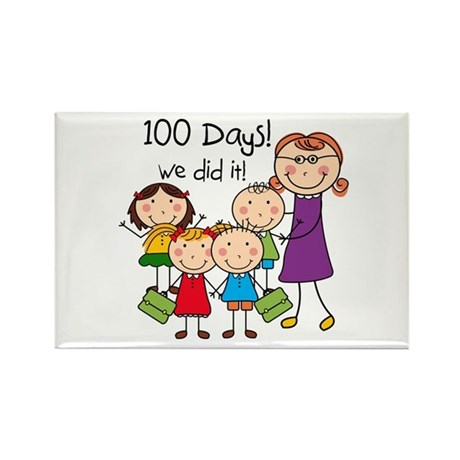 Kids and Female Teacher 100 Days Rectangle Magnet
