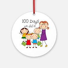 Kids and Female Teacher 100 Days Ornament (Round)