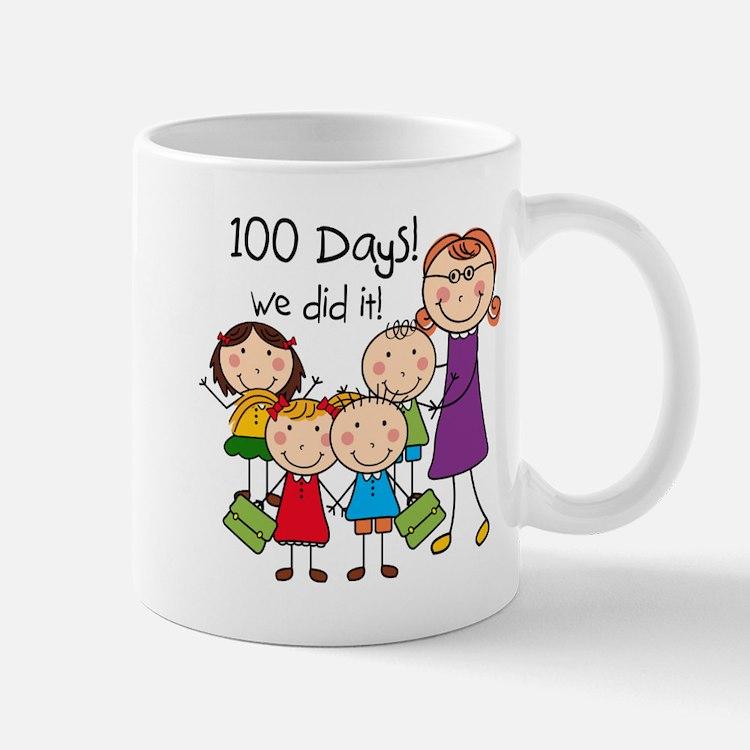 Kids and Female Teacher 100 Days Mug