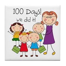 Kids and Female Teacher 100 Days Tile Coaster