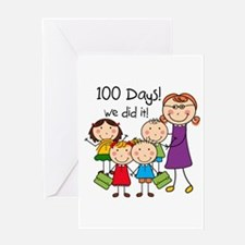 Kids and Female Teacher 100 Days Greeting Card