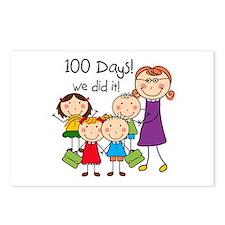 Kids and Female Teacher 100 Days Postcards (Packag