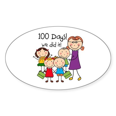 Kids and Female Teacher 100 Days Sticker (Oval)