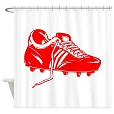 Red Soccer Cleat Shower Curtain