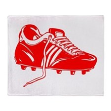 Red Soccer Cleat Throw Blanket