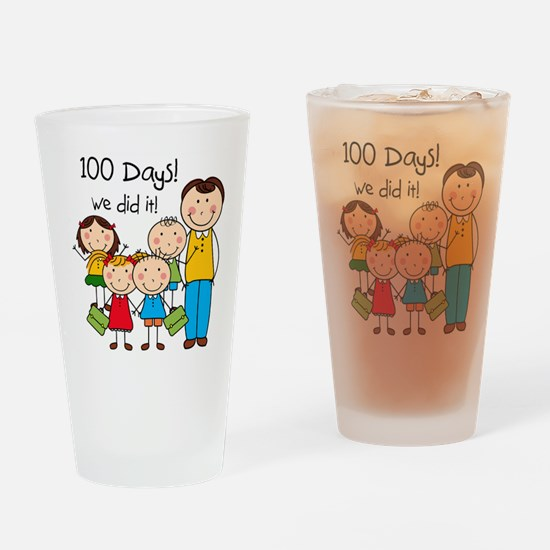 Kids and Male Teacher 100 Days Drinking Glass
