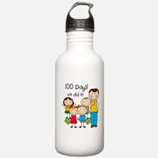 Kids and Male Teacher 100 Days Water Bottle