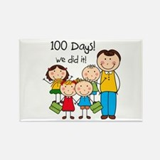 Kids and Male Teacher 100 Days Rectangle Magnet