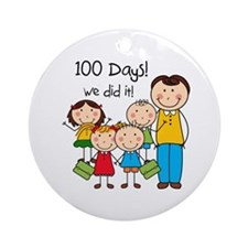 Kids and Male Teacher 100 Days Ornament (Round)