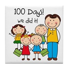 Kids and Male Teacher 100 Days Tile Coaster