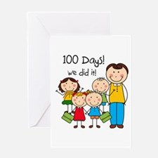 Kids and Male Teacher 100 Days Greeting Card