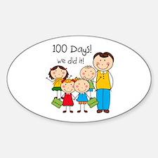 Kids and Male Teacher 100 Days Sticker (Oval)