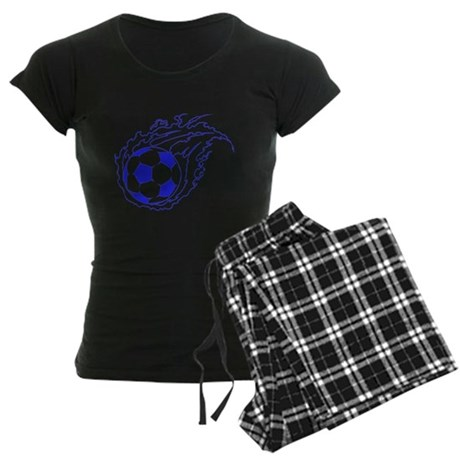 Blue Soccer Flame Ball Women's Dark Pajamas