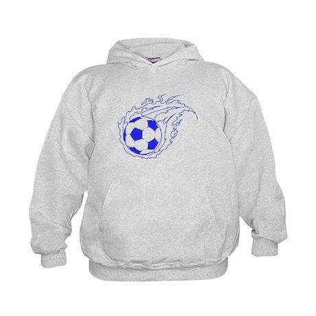 Blue Soccer Flame Ball Kids Hoodie