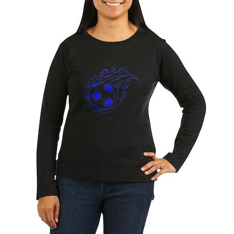Blue Soccer Flame Ball Women's Long Sleeve Dark T-