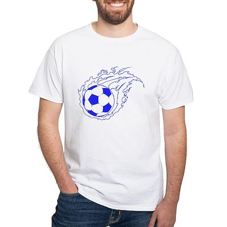 Blue Soccer Flame Ball White T-Shirt