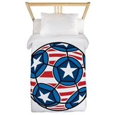 Red White And Blue Soccer Ball Twin Duvet