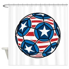 Red White And Blue Soccer Ball Shower Curtain