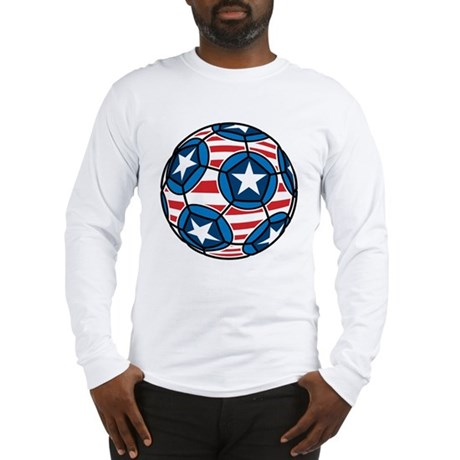 Red White And Blue Soccer Ball Long Sleeve T-Shirt
