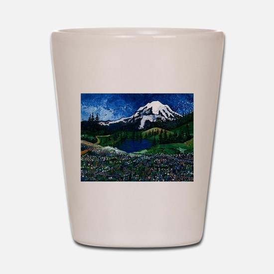 Mt Rainier with Blue Sky Shot Glass