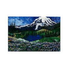 Mt Rainier with Blue Sky Rectangle Magnet