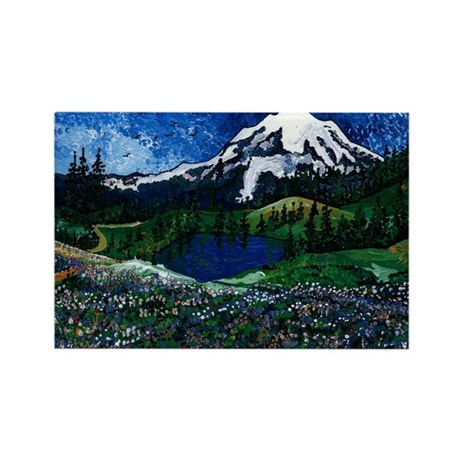 Mt Rainier with Blue Sky Rectangle Magnet