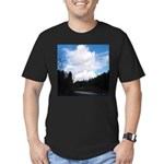 Eel River with Clouds Men's Fitted T-Shirt (dark)