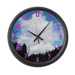 Eel River with Clouds Large Wall Clock