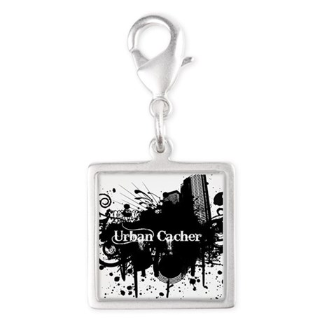 Urban Cacher Silver Square Charm