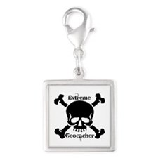 Extreme Geocacher Silver Square Charm