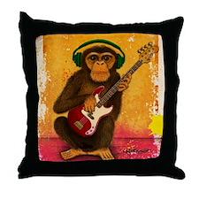 Funky Monkey Bass Player Throw Pillow