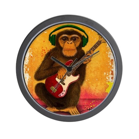 Funky Monkey Bass Player Wall Clock