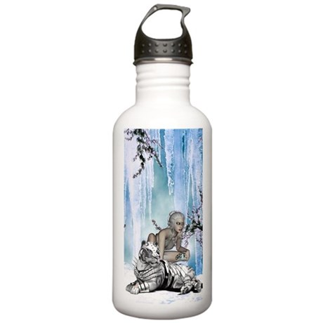 Awesome snow tiger with fantasy girl Water Bottle