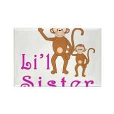 Little Sister Cute Monkeys 2 Rectangle Magnet