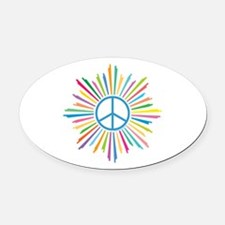 Peace Symbol Star Oval Car Magnet