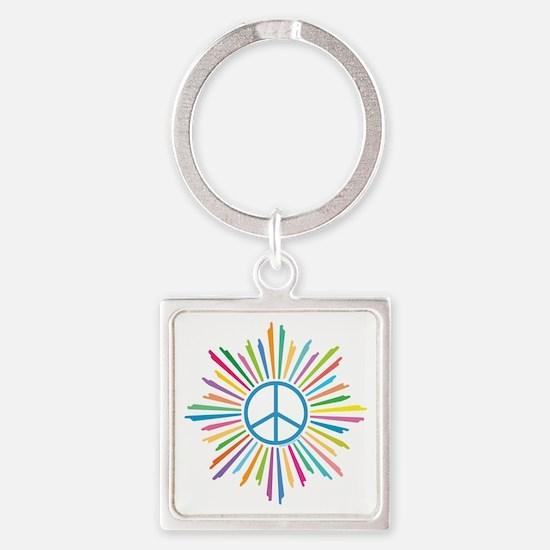Peace Symbol Star Square Keychain