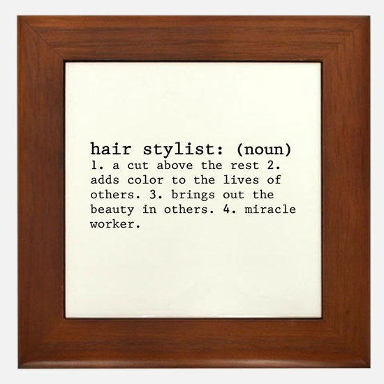 Hair Stylist Definition Framed Tile