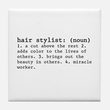 hair stylist definition Tile Coaster