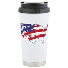 4th July USA Flag Travel Mug