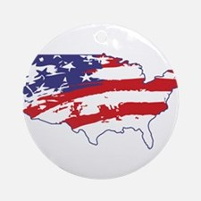 4th July USA Flag Ornament (Round)