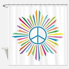Peace Symbol Star Shower Curtain