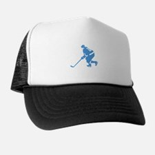 Blue Ice Hockey Player Trucker Hat